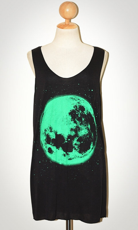 The Moon Green Print Black Tank Top Singlet Sleeveless Women Art Universe Punk Rock T-Shirt Size L