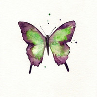 Butterfly/Dragonfly/Eggplant,Plum, Purple and Light Green/ Watercolor Print/ 2 for 30.00