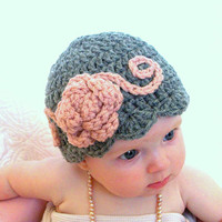 Baby hats, baby flapper girl hat, pink and gray baby hat, ready to ship photo prop, baby girl hats, Halloween costume