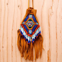 Vintage 1970's Southwestern Fringe Medicine Pouch - Native American Bead Leather Necklace