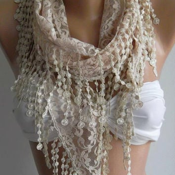 ON SALE / Beige / Elegance  Shawl - Scarf with Lacy Edge