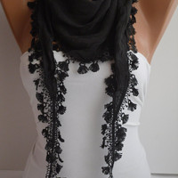 Black Shawl / Scarf - Headband - Cowl with  Lace Edge
