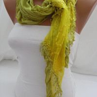 Women Yellow Scarf - Headband - Cowl with Lace Edge - Summer Trends