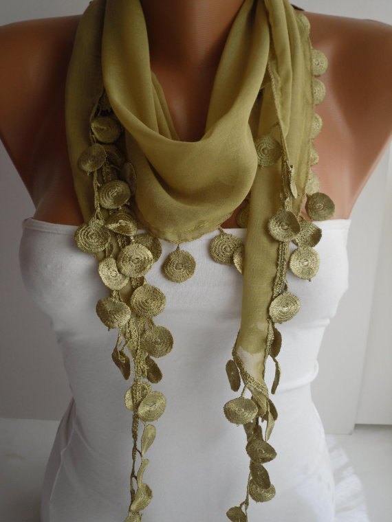 Lime Shawl / Scarf - Headband - Cowl with Lace Edge -Summer Trends