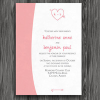 Printable Wedding Invitation - Pink and Grey Heart Initials