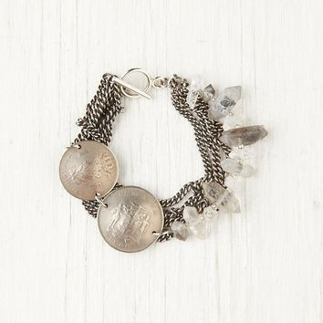 Free People Coin & Crystal Bracelet