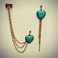 turquoise heart earrings and ear cuff