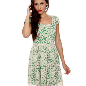 Lovely Lace Dress - Cream Dress - Green Dress - $47.00