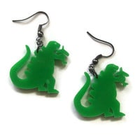 Godzilla Earrings, Green Dinosaur Laser Cut Acrylic
