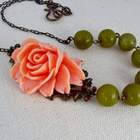 Flower Necklace, Green Beaded Flower Necklace, Peach Flower Necklace