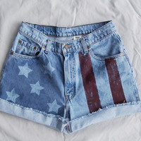 "American flag shorts / Vintage LEVIS 550 cut offs / High Waisted denim shorts / 30"" waist"