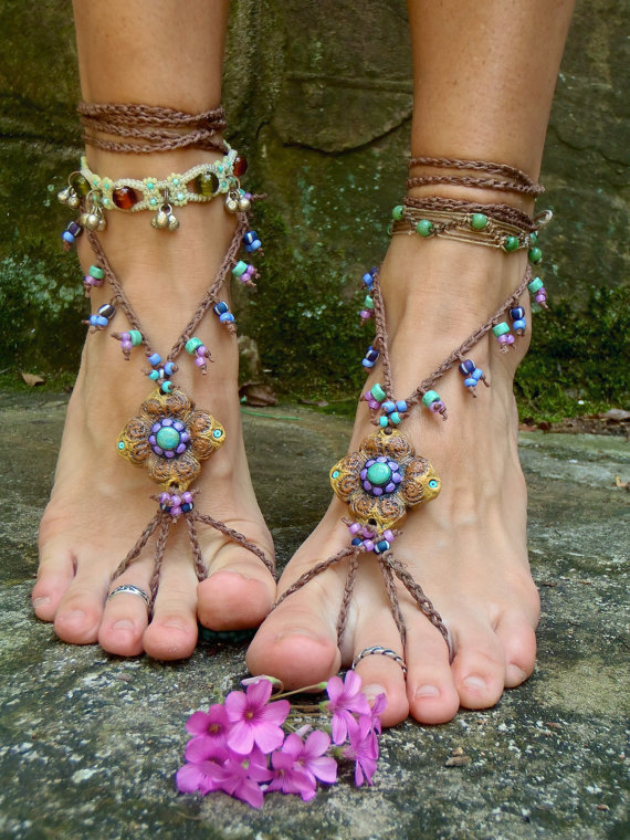 HULA HOOPING BAREFOOT sandals mustard yellow brown belly dance yoga sole less sandals beach sandals foot jewelry nude shoes made to order