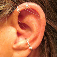 "2 No Piercing ""Helix Ball"" Ear Cuffs & 1 Conch Ball Cuff Handmade 3 Cuffs Silver Tone or 17 Color Choices"