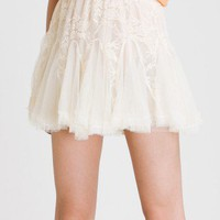Ivory Skater Lace Tulle Skirt - Retro, Indie and Unique Fashion