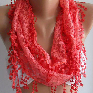 pomegranate flower color / Elegance  Shawl / Scarf with Lacy Edge.