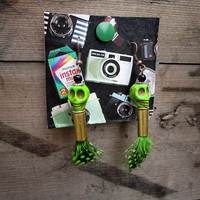 Skull, Bullet, Feather Earrings - Green