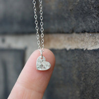 Tiny heart necklace - tiny sterling silver heart charm . sterling silver chain . simple, minimal charm jewelry . wedding &amp; anniversary