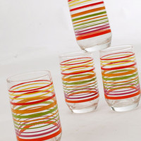 Retro Rainbow Glass Set $35