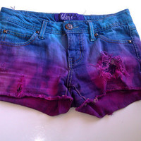 Turquoise / Blue and Pink Studded, Dyed, and Distressed Shorts bleached destroyed studs