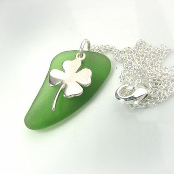 Lucky Jewelry Luckly Charm Necklace Kelly Green Sterling Silver Clover Irish Jewelry Gift for Her