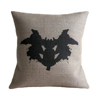 Rorschach Ink Blot 1 Hessian Burlap Pillow Cushion Cover 16""