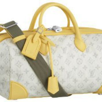 Amazon.com: Louis Vuitton Monogram Denim Speedy Round - Yellow: Clothing
