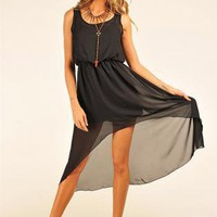 Black High-Low Sleeveless Dress with Sheer Overlay