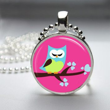 Owl Glass Tile Bezel Round Pendant Necklace