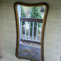 Antique Wall Mirror Unique Hourglass Shape in Wood and Gesso Frame