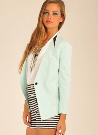 Mint Blazer with Single Button and Leather Trim