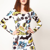 Lazy Oaf x Batman Exclusive Bodycon Dress In Logo Print at asos.com