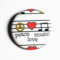 Peace Love Music Pinback Buttons Large Sheets Heart
