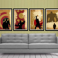 Retro Captain America, Hulk , Iron Man and Thor Superheroes Poster Set