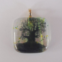 Tree Of Life Fused Dichroic Glass Pendant Necklace Slide Dawn Red Purple Pink