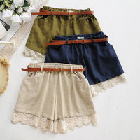 YESSTYLE: Angel Love- Lace-Hem Belted Shorts - Free International Shipping on orders over $150
