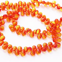 Czech Glass Drops 4x6 Fire Opal 50 Pieces  B682
