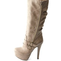 Slouchy Belted Side-Zip Platform Stiletto Boots - Taupe