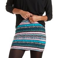Tribal Print Bodycon Mini Skirt by Charlotte Russe - Turquoise Combo
