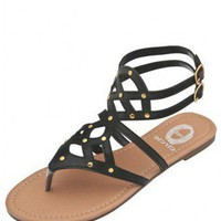 BLACK STUDDED STRAP FLAT SANDALS @ KiwiLook fashion