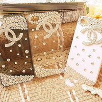 Free Shipping Crystal Alloy Chanel Logo Double CC Design iphone4 4s case with Present Packing  (white, grey and clear case is available)