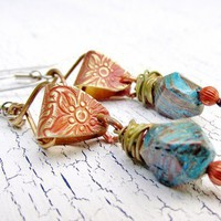 Blue Sky Jasper Earrings Mixed Metal Dangle Nuggets