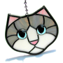 Stained Glass Cat Gray and White with Blue Eyes Suncatcher
