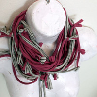 Chunky Scarf, Eco Friendly Fabric Neckwear Fabric Necklace Grey Pinstripe and Purple