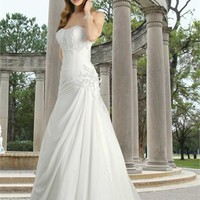 Elegant a-line sweetheart corset applique wedding dress WD2139