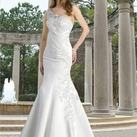 Mermaid one shoulder sweep train embroidery organza wedding dress WD2142