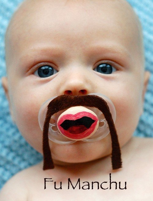Fu Manchu- Hand Cut Custom Mustache Pacifier- Brown