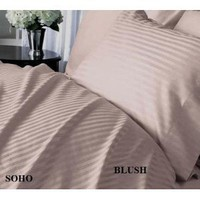 Amazon.com: SOHO Egyptian cotton 500 Thread Count Sateen Stripe 4 Pc Comforter Set - Blush CalKing.: Home & Kitchen