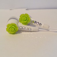 Neon  Green Rose Earbuds With Swarovski Crystals.