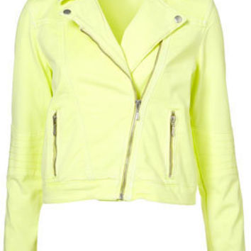 MOTO Neon Denim Biker Jacket