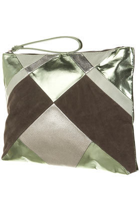 Metallic Patchwork Clutch - Bags & Wallets  - Accessories